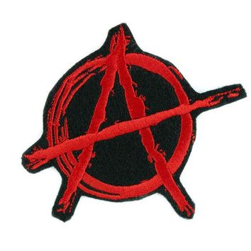ac spbest Red Anarchy Sign Patch Iron on Applique Alternative Punk Rock Clothing DIY