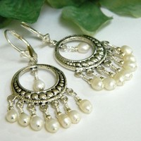 Pearl Chandelier Earrings Petite White Freshwater On Silver, Handmade