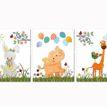Colorful neutral nursery art toddler artwork elephant poster rabbit bunny kids room decoration baby girl boy wall decor orange green giraffe