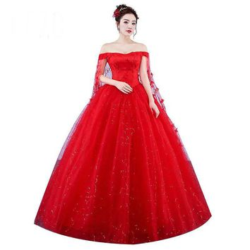 Custom Made Wedding Dresses Red Romantic Bride Dress Sweetheart Princess Gown Embroidery