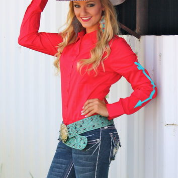 RED RODEO SHIRT WITH TURQUOISE ARROWS
