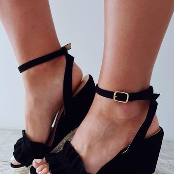 Meet Me Here Wedges: Black