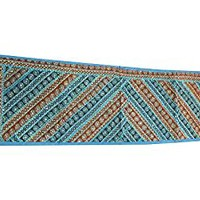 Table Decoration Bohemian Boho Runner Blue Orange Sequin Embroidery Ethnic Table Throw 60 x18