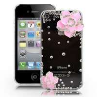 Fosmon 3D Bling Crystal Design Case for iPhone 4 and 4S, Transparent with Pink Rhinestone Flower