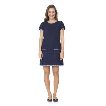 Embroidered Boucle Shift Dress in Navy by Sail to Sable