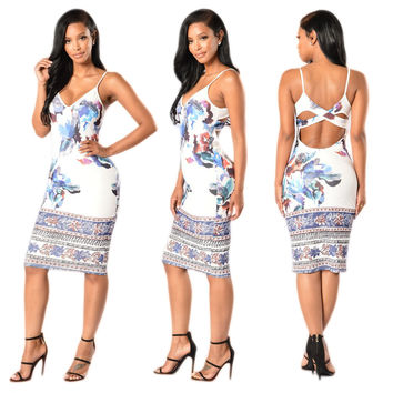 Fashion  Multicolor Flower Print V-Neck Sleeveless Hollow Tight Mini Dress