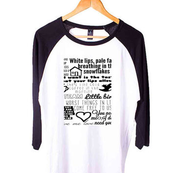 ed sheeran lyric Short Sleeve Raglan - White Red - White Blue - White Black XS, S, M, L, XL, AND 2XL*AD*