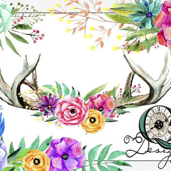 Watercolor Flower Antler Pk | Digital Download | Personal or Commercial Use | Transparent Background | PNG | Clip Art | Quality Time Designs