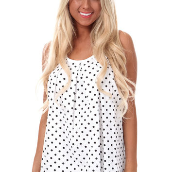 White Polka Dotted Bow Back Tank Top