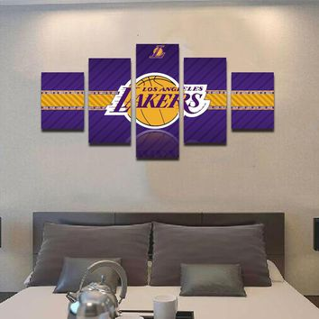 5 Panels Modern Decorative Sports NBA Teams Mark Painting On Canvas Modern Room Home Decoration Print Poster Picture Artwork