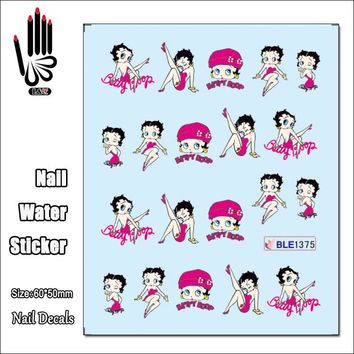 1 Sheet Nail Sticker BLE1375 Cartoon Rose Red Betty Boop Nail Art Water Transfer Sticker Decal Sticker For Nail Wraps