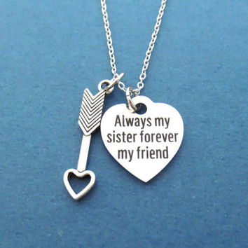 Always my sister forever my friend, Gift for sister, Birthday, Necklace, Heart, Forever, Graduation, Sister, Gift, Accessories, Jewelry