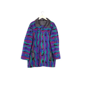 90s southwestern fleece jacket / vintage 1990s / coat / aztec pattern / navajo print / colorful / wild / soft / southwest / purple / teal