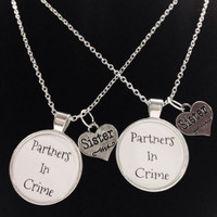 2 Necklaces Sisters Partners In Crime Gift Set