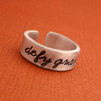 Wicked Inspired - Defy Gravity - A Hand Stamped Aluminum Ring