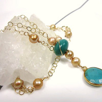 Long Turquoise and Gold  Bezel Necklace, Gold Filled Wire Wrapped, Pearls,