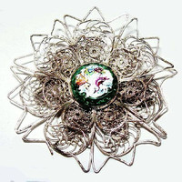 "Victorian Cannetille Brooch Birds Flowers Sterling Silver Wire Porcelain Face 2"" Vintage"