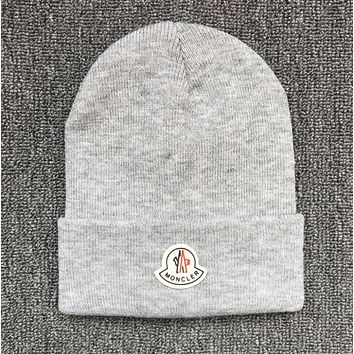 Moncler Popular Unisex Leisure Beanies Winter Knit Hat Cap Light Grey
