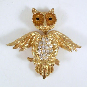 Vintage Owl Brooch Gold-tone and Rhinestones Spring Head