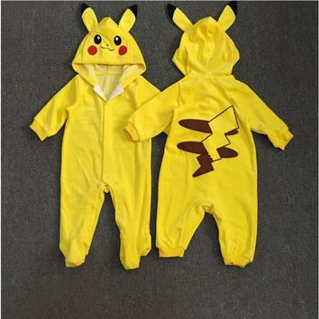 Baby Girls Boy Clothes Newborn Baby Rompers Boys Clothing Pajamas  Kids  baby Pikachu costumes Jumpsuits Infant 3 6 24MKawaii Pokemon go  AT_89_9