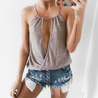 Stylish Bralette Hot Sexy Comfortable Beach Spaghetti Strap Bra Summer Ring Camisole Vest [11413332879]