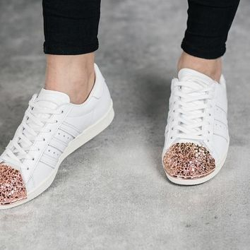 adidas Originals White Superstar 80S Trainers With Colorful 3D Metal Toe Cap Sneakers Sport Shoes