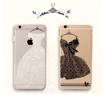 Classic Lace Flower Black skirt soft Back Cover Capa Para For Apple iPhone 6 6S 5 5s Plus Case Funda Coque