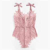 Pink Lace V Neck Bodysuit