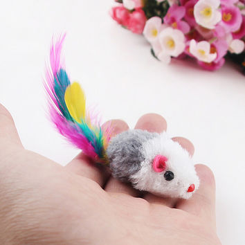 5 Pcs./Lot Feather-type Colorful Mouse Toy