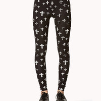 Ornate Cross Print Leggings