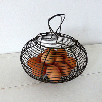 Vintage French Wire Egg Basket, Salad Spinner