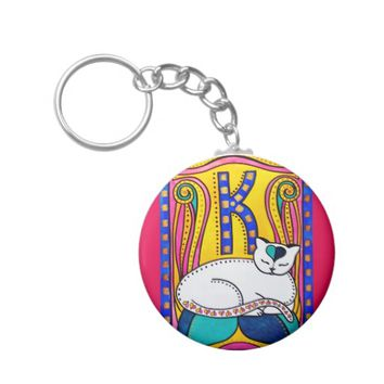 Peace And Love Valentine Cat Design Keychain