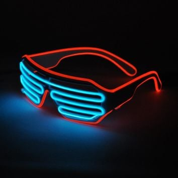 Free Shipping Emazing Lights 2-Color EL Wire Neon LED Light Party DJ Up Bright Shutter Shaped Glasses Rave Sunglasses