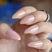 24pcs/kit Holographic Point Acrylic Nail Tips Nude Color Medium Full Cover Fake False Nails for Lady Wear with Glue Sticker E12