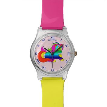 Cute Kawaii Rainbow Unicorn Cartoon Style Wristwatches