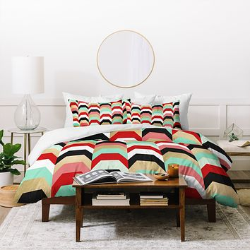 Elisabeth Fredriksson Stacks of Red and Turquoise Duvet Cover