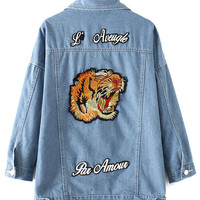 Boyfriend Denim Jacket with Animal Embroidery
