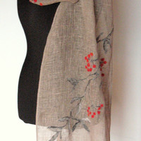 Linen Scarf Natural Gray Washed Linen Red Mountain Ash Berries Felted Wool