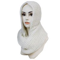 """Clssic"" Thick Crochet White Hooded Infinity Scarf"