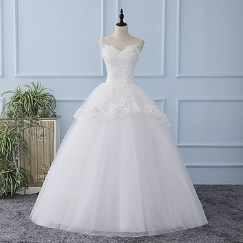 It's YiiYa Illusion Wedding Dress Sequined Flowers Tulla Pattern Appliques Bride Wedding Gowns Vestidos De Novia Casamento XL211