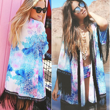 Womens Chiffon Tops Blouse Coat Kimono Jacket Beach Boho Cardigan Cover up = 5709619265