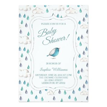 Rain Clouds and Raindrops Baby Shower 5x7 Paper Invitation Card