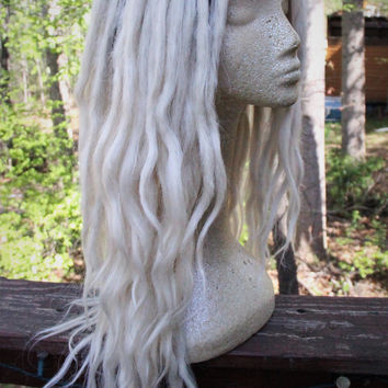 Platinum Blonde Ombre Lace Front Synthetic Dreadlock Wig * White Blond Ombre * Synthetic Dreads * Pastel Goth * Kawaii * Nu Goth * Witchy *