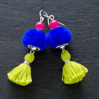 Ethnic PomPom Tassel Earrings, Funky Fun Jewelry, Tassel Jewelry, PomPom Jewelry, Soft Earrings, Lightweight Earrings, Pom Pom Earrings