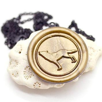 Customized Wolf Wax Seal Necklace - 26 Colors Available