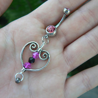 pink heart belly ring  antique silver heart pink and black crystals in  boho gypsy hippie and hipster style