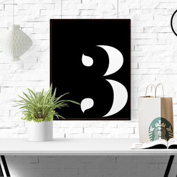 Number 3 Printable Poster Print Number Scandinavian Poster Typography Print Number 3 Wall Art Custom number ANY NUMBER Black And White