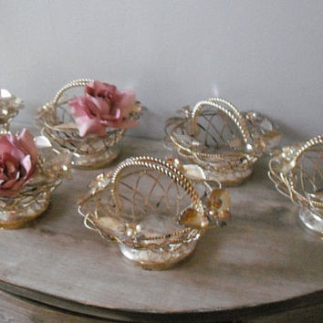 6 rustic silverplate metal baskets Wedding table decor ... floral toile