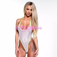 Monokini G-String - White Athletic Fishnet - Neon Green String