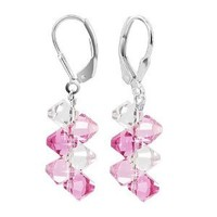 SCER007 925 Sterling Silver Handmade Pink Dangle Earrings Made with Swarovski Crystal Elements